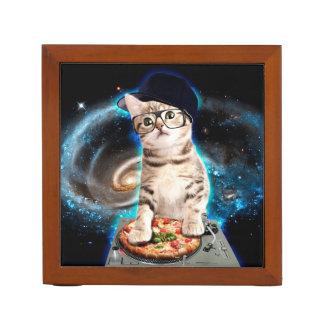 Porta-caneta gato do DJ - gato do espaço - pizza do gato -
