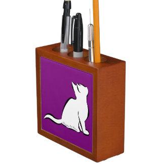Porta-caneta Gato preto, suficiência branca, texto interno
