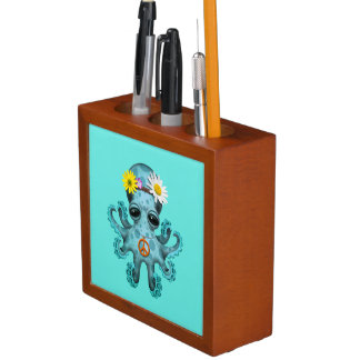 Porta-caneta Hippie bonito do polvo do bebê azul