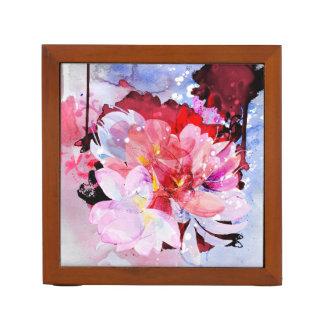 Porta Caneta Jardim de flores da aguarela. Ilustração abstrata