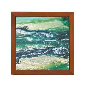Porta-caneta Linhas de pintura brancas do abstrato de turquesa