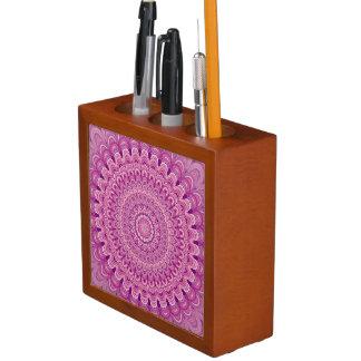 Porta Caneta Mandala cor-de-rosa da flor