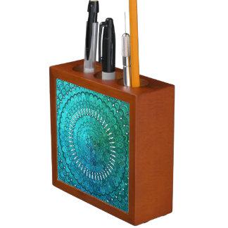 Porta-caneta Mandala de turquesa