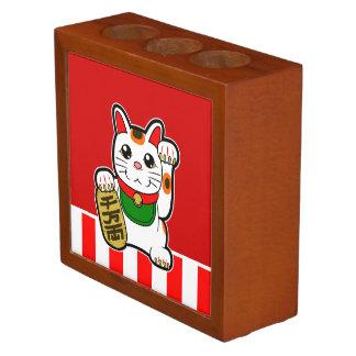 Porta-caneta Maneki Neko: Gato afortunado japonês