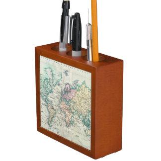 Porta-caneta Mapa do vintage do mundo (1801)