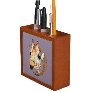 """Porta-caneta """"Mastigação"""" pintura da aguarela de 2 girafas"""