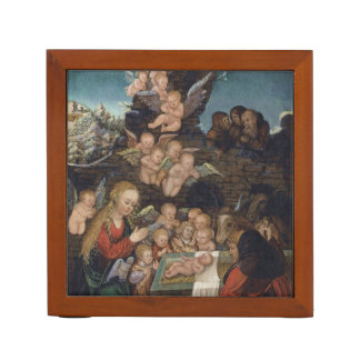 Porta-caneta Natividade que caracteriza querubins