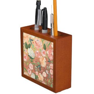 Porta-caneta O primavera coram e a casa floral da aguarela do