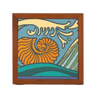 Porta-caneta Ondas de oceano azuis coloridas