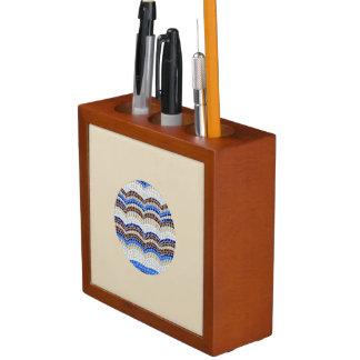Porta-caneta Organizador azul redondo da mesa do mosaico