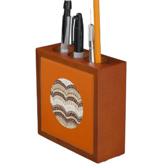 Porta-caneta Organizador bege redondo da mesa do mosaico