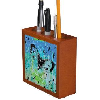 Porta Caneta Organizador bonito da mesa das cores da borboleta