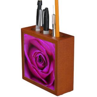 Porta-caneta Organizador cor-de-rosa da mesa