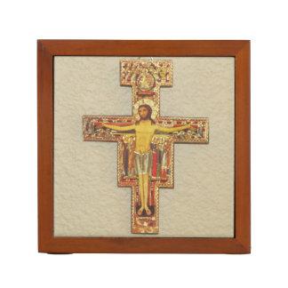 Porta-caneta Organizador da mesa--Cruz Franciscan