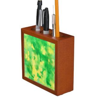Porta-caneta Organizador da mesa da aguarela do verde amarelo