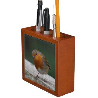 Porta Caneta Organizador da mesa do pisco de peito vermelho