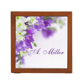 Porta Caneta Organizador da mesa--Flor-Vertical roxo