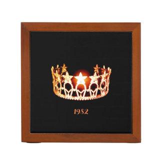 Porta Caneta Organizador-Data de madeira da mesa da coroa