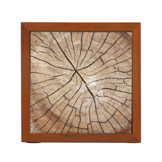 Porta Caneta Organizador de madeira rachado da mesa da grão