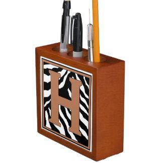Porta Caneta Organizador H-Monogrammed da mesa do impressão da