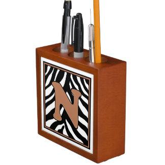 Porta Caneta Organizador N-Monogrammed da mesa do impressão da