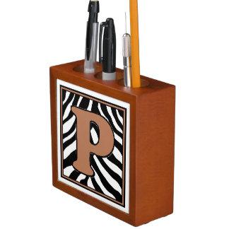 Porta-caneta Organizador P-Monogrammed da mesa do impressão da