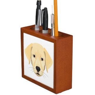 Porta-caneta Ouro Retriver do filhote de cachorro da ilustração