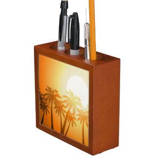 Porta-caneta Palmeiras tropicais no por do sol