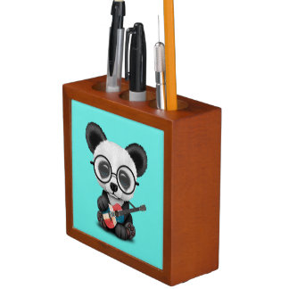 Porta-caneta Panda do bebê que joga a guitarra dominiquense da