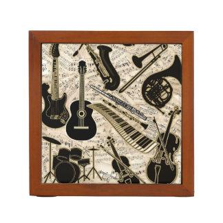 Porta-caneta Partitura e preto dos instrumentos/ouro ID481