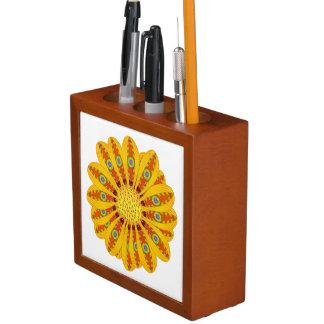 Porta-caneta Pavão tribal da flor do Gazania