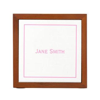 Porta Caneta Personalize:  Cor-de-rosa mínimo moderno e branco