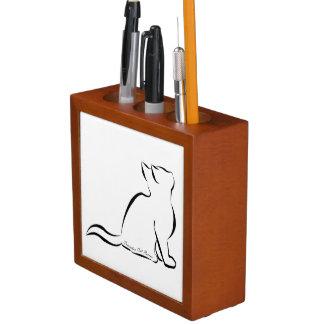 Porta Caneta Silhueta do gato preto, texto interno