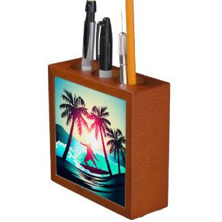 Porta-caneta Surfar com palmeiras