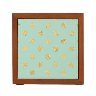 Porta Caneta Teste padrão de bolinhas elegante da folha de ouro
