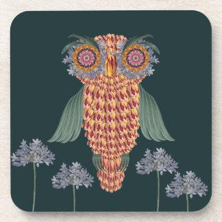 Porta-copo A coruja da sabedoria e das flores