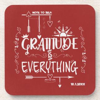 Porta-copo A gratitude é tudo nota ao quadro do auto