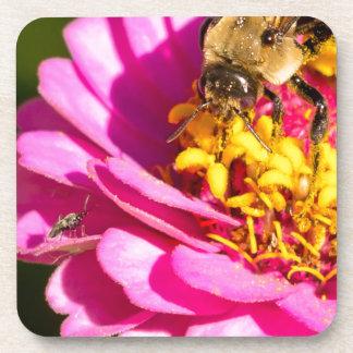 Porta-copo abelha e inseto que estão em uma flor roxa