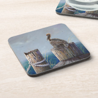 Porta-copo Arte acrílica do oceano do pelicano de Brown da