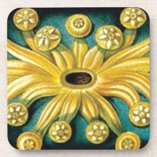 Porta-copo arte amarela da explosão da flor