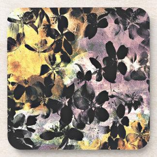 Porta-copo Arte digital floral cor-de-rosa amarela do teste