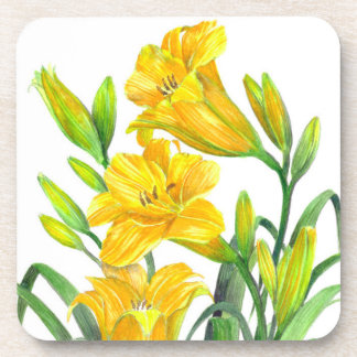 Porta-copo Arte floral amarela dos lírios de dia da aguarela