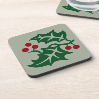 Porta-copo Azevinho verde & símbolo vermelho do feriado do