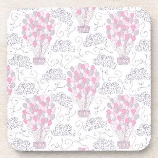 Porta-copo Balões de ar quente na arte cor-de-rosa do