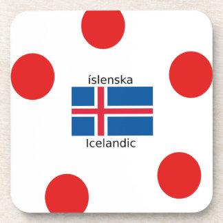 Porta-copo Bandeira de Islândia e design islandês da língua