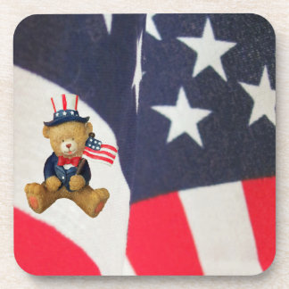 Porta-copo Bandeira que acena o urso de ursinho dos EUA