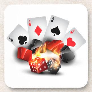 Porta-copo Branco do casino do póquer da chama
