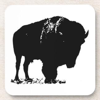 Porta-copo Búfalo preto & branco do bisonte do pop art
