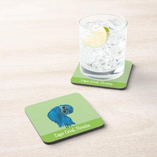 Porta-copo Burrowing a coruja em verde e no azul