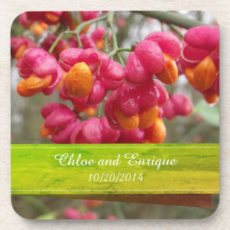 Porta-copo Casamento personalizado do fruto do eixo flores